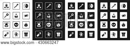 Set Moon And Stars, Bottle With Potion, Magic Wand, Wizard Warlock, Fireball, Staff, Flame And Hat I