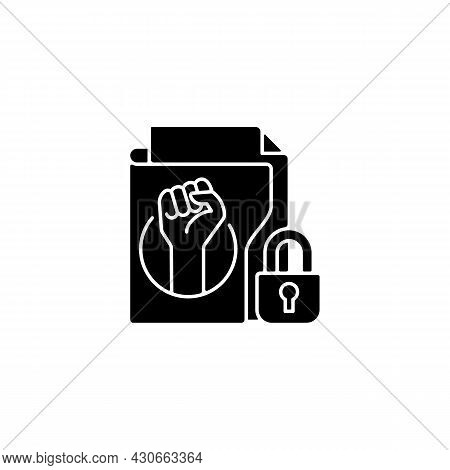 Trade Union Membership Black Glyph Icon. Improving Employment Rights, Benefits. Fighting Discriminat