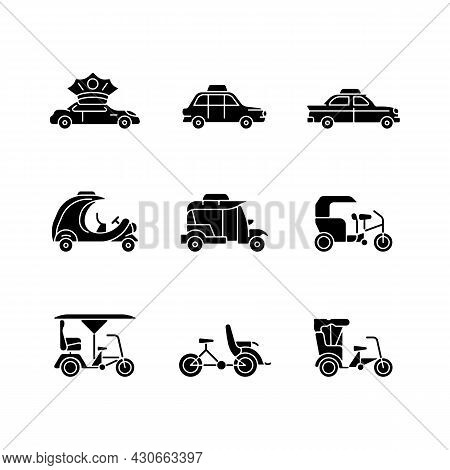 Taxicab Types Black Glyph Icons Set On White Space. Personal Driver. London Cab. Retro Car. Coco Tax