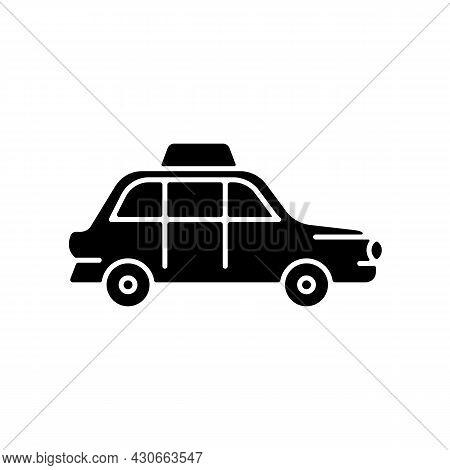 London Cab Black Glyph Icon. Hackney Carriage. Minicab Service. Public Transportation. Pick Passenge
