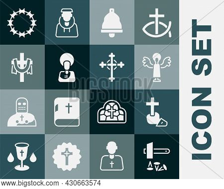 Set Crucifixion Of Jesus Christ, Christian Cross, Angel, Church Bell, Crown Thorns And Icon. Vector