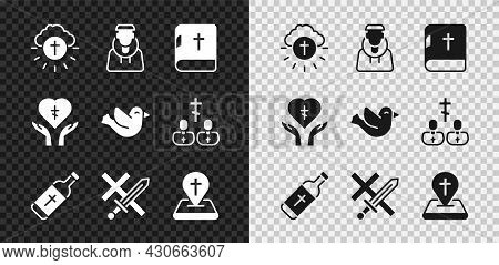 Set Religious Cross In Circle, Monk, Holy Bible Book, Water Bottle, Crusade, Location Church Buildin