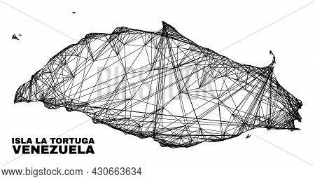 Carcass Irregular Mesh Isla La Tortuga Map. Abstract Lines Are Combined Into Isla La Tortuga Map. Li