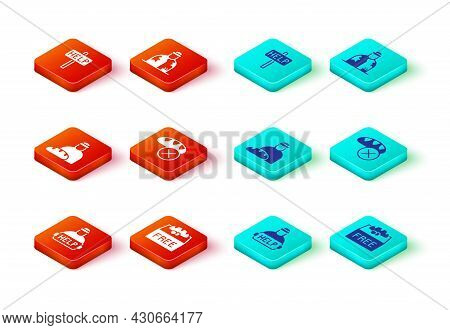 Set Help Homeless, Donation Food, Feeding The, Homeless And Ask For Help Text Icon. Vector