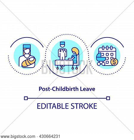 Post-childbirth Leave Concept Icon. Abscence After Child Birth Abstract Idea Thin Line Illustration.