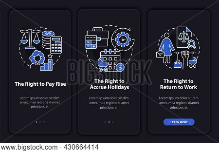 Maternity Leave Rights Dark Onboarding Mobileapp Page Screen. Walkthrough 3 Steps Graphic Instructio