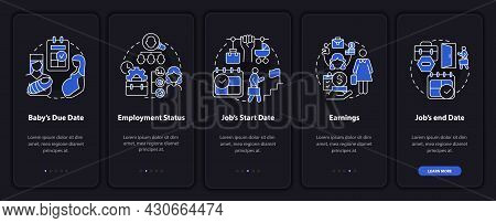 Calculating Maternity Pay Dark Onboarding Mobileapp Page Screen. Walkthrough 5 Steps Graphic Instruc