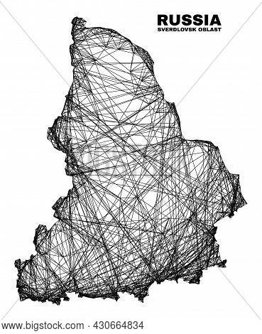 Net Irregular Mesh Sverdlovsk Region Map. Abstract Lines Are Combined Into Sverdlovsk Region Map. Wi