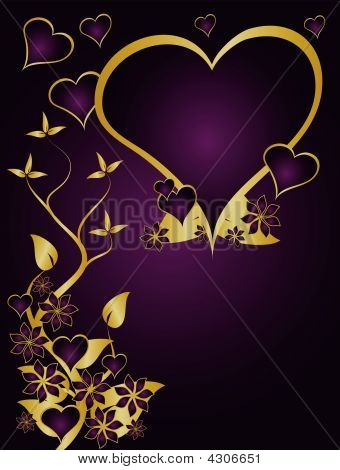 Purple And Gold Valentines Hearts Background