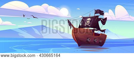 Pirate Ship With Black Sails And Flag With Skull And Crossbones In Sea. Vector Cartoon Landscape Of