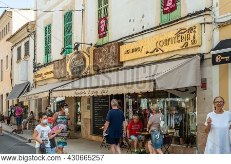 Campos, Spain; August 14 2021: Exterior Facade Of The Famous Pomar Pastry Shop In The Center Of The