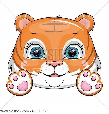 Cute Cartoon Tiger Cub With Paws. Vector Illustration Of An Animal Head On A White Background.