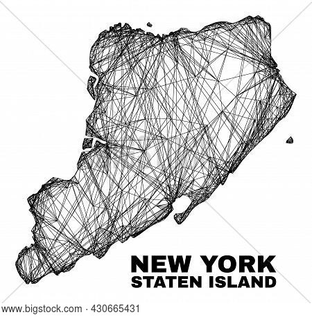 Net Irregular Mesh Staten Island Map. Abstract Lines Form Staten Island Map. Linear Frame 2d Net In