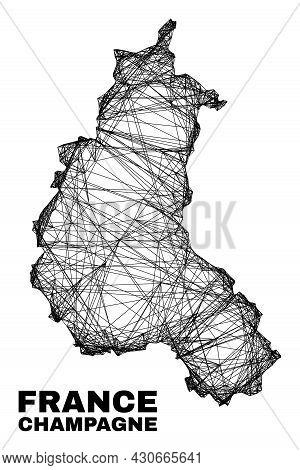 Net Irregular Mesh Champagne Province Map. Abstract Lines Form Champagne Province Map. Wire Carcass