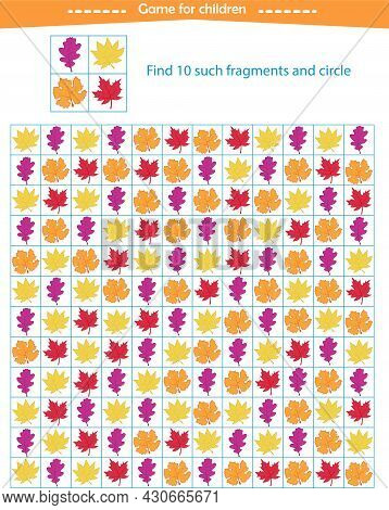 A Game For Children. Find The Fragments Of The Autumn Leaves Shown In The Sample. Development Of Att