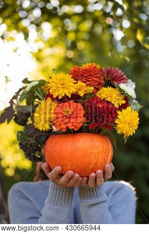 A Woman Holds A Beautiful Autumn Bouquet In A Pumpkin In Front Of Her Face. Autumn, Thanksgiving Day