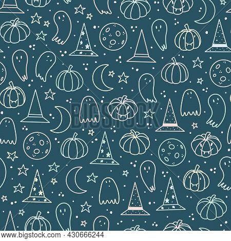 Dark Blue Pastel Cute Halloween Repeat Pattern