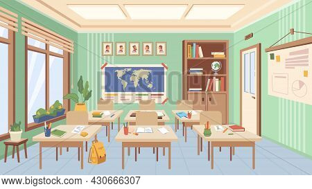 Classroom Of School Or College Interior Design, Auditorium With Desks And Books With Supplies For Le