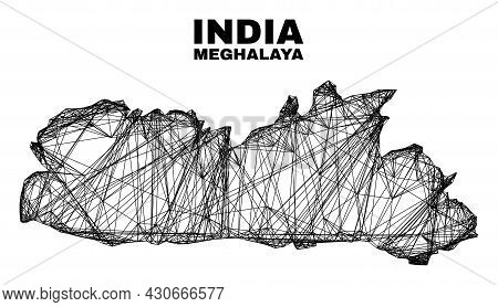 Net Irregular Mesh Meghalaya State Map. Abstract Lines Are Combined Into Meghalaya State Map. Wire C