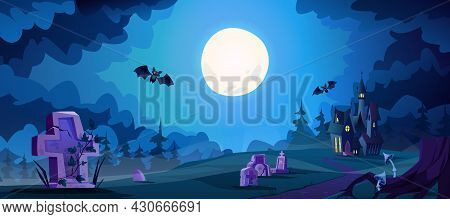 Halloween Landscape With Scary Dark Castle And Graves With Flying Bats. Full Moon Shining On Cemeter