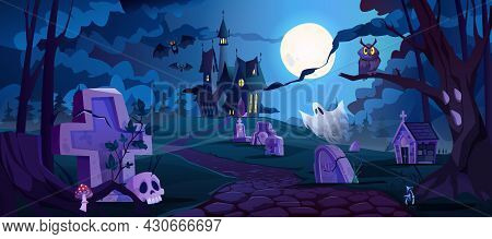 Graveyard And Castle In Distance, Spooky Halloween Night Landscape With Tombstones And Dry Trees, Au
