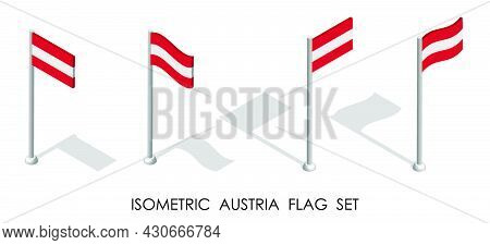 Isometric Flag Of Austria In Static Position And In Motion On Flagpole. 3d Vector
