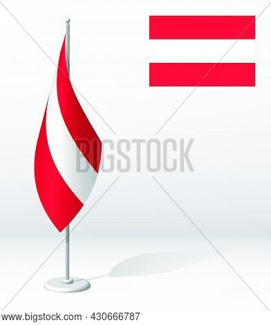 Flag Of Austria On Flagpole For Registration Of Solemn Event, Meeting Foreign Guests. National Indep