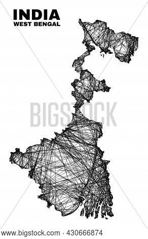Wire Frame Irregular Mesh West Bengal State Map. Abstract Lines Are Combined Into West Bengal State
