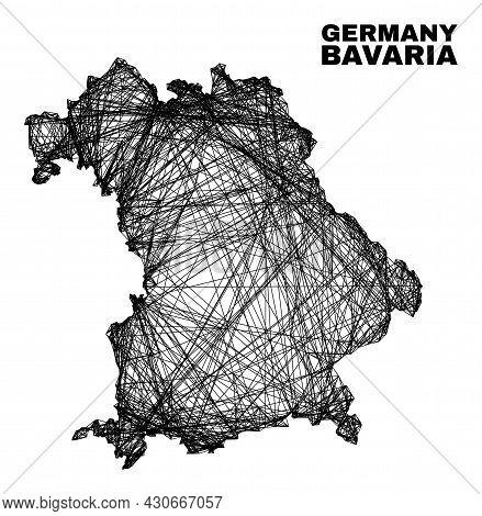 Wire Frame Irregular Mesh Bavaria Land Map. Abstract Lines Form Bavaria Land Map. Wire Frame Flat Ne