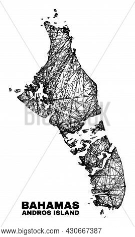 Net Irregular Mesh Andros Island Of Bahamas Map. Abstract Lines Are Combined Into Andros Island Of B