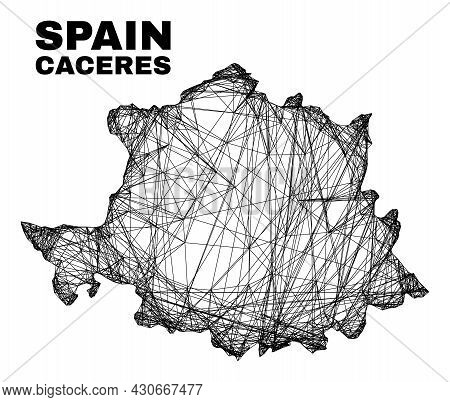 Net Irregular Mesh Caceres Province Map. Abstract Lines Form Caceres Province Map. Wire Carcass Flat