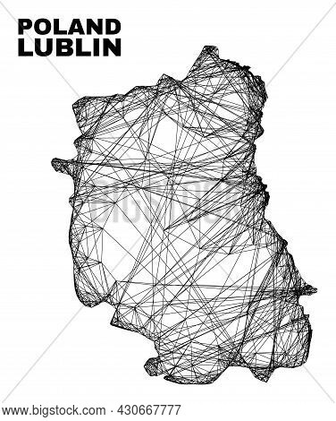 Wire Frame Irregular Mesh Lublin Voivodeship Map. Abstract Lines Are Combined Into Lublin Voivodeshi