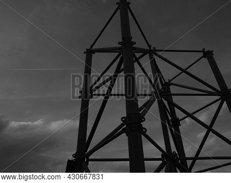 Iron Concrete Structure, Construction Tower, Interesting View From The Bottom, Sky And Fighter, Silh