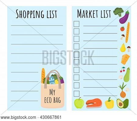 Shopping List Template With Eco Bag, Healthy Food And Vegetables. Page Template With Lines For Writi