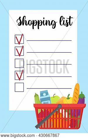 Shopping List Template With Supermarket Busket With Healthy Food And Vegetables. Page Template With
