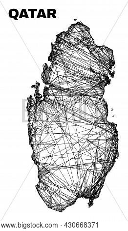 Net Irregular Mesh Qatar Map. Abstract Lines Form Qatar Map. Wire Carcass 2d Network In Vector Forma