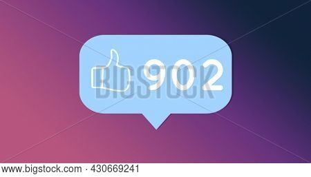 Image of a blue chat box with a like icon and increasing number of likes on a purple gradient background 4k