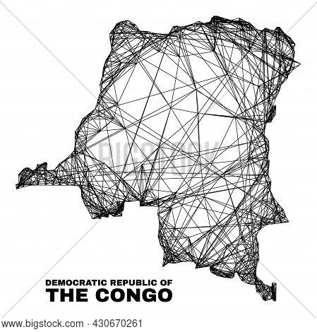 Net Irregular Mesh Democratic Republic Of The Congo Map. Abstract Lines Are Combined Into Democratic