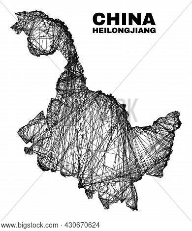 Net Irregular Mesh Heilongjiang Province Map. Abstract Lines Are Combined Into Heilongjiang Province