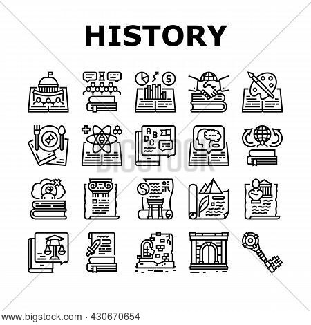 History Learn Educational Lesson Icons Set Vector. Environmental And Art, Political And Economic, In