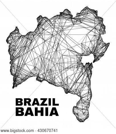Net Irregular Mesh Bahia State Map. Abstract Lines Form Bahia State Map. Wire Carcass Flat Net In Ve