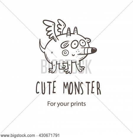 Vector Card With Cute Cartoon Monster. Funny Fictional Animal . Doodle Line Art Creature Print. Chil