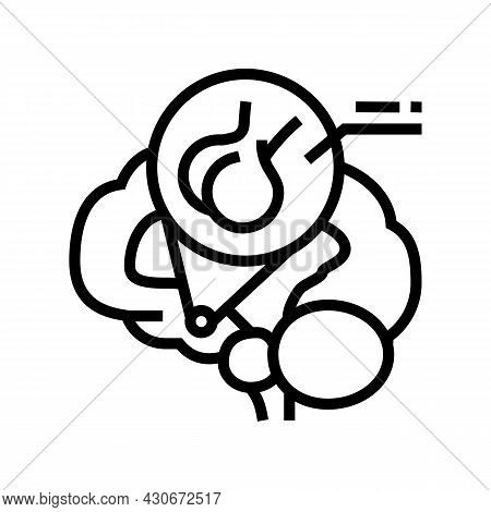 Pituitary Gland Endocrinology Line Icon Vector. Pituitary Gland Endocrinology Sign. Isolated Contour