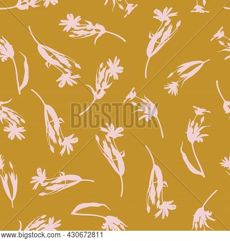 Seamless Pattern With Wildflowers. Vector Pattern For Fabric, Wallpaper, Wrapping. Realistic Silhoue