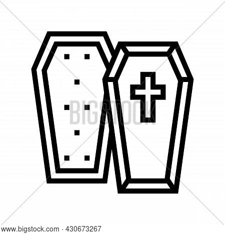 Coffin Halloween Line Icon Vector. Coffin Halloween Sign. Isolated Contour Symbol Black Illustration