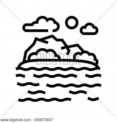 Sea Coast Hawaii Line Icon Vector. Sea Coast Hawaii Sign. Isolated Contour Symbol Black Illustration