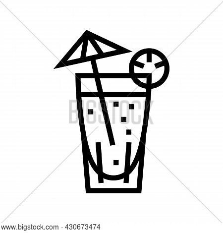 Cocktail Exotic Drink Line Icon Vector. Cocktail Exotic Drink Sign. Isolated Contour Symbol Black Il