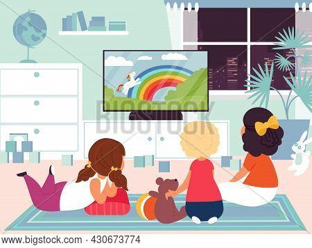 Kids Watching Tv. Child Television, Children In Room Watch Movie Or Cartoon Together. Home Cinema Te
