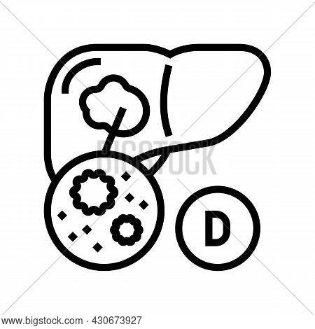 Type D Hepatitis Line Icon Vector. Type D Hepatitis Sign. Isolated Contour Symbol Black Illustration