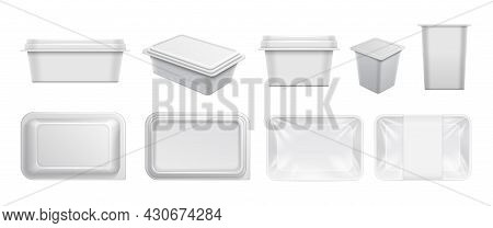 White Plastic Containers. Food Container, Packaging For Take Away And Yogurts. Realistic Boxes For C
